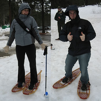 Justin and Stephanie with wood snowshoes